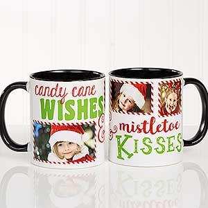 Christmas Photo Mugs - Candy Cane Wishes, Mistletoe Kisses - 18072