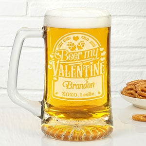 buy 25oz beer mugs with our beer my valentine design add name and custom message for free see more beer mugs at