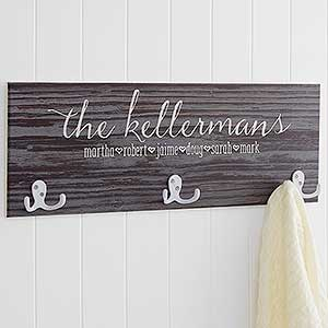 Personalized Coat Rack - Rustic Family Love - 18079