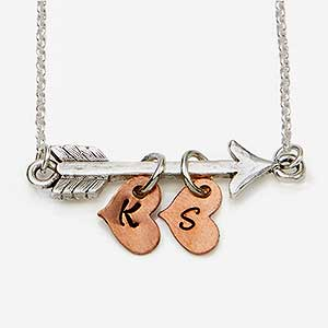 Personalized Arrow Necklace with Stamped Initial - 18081D