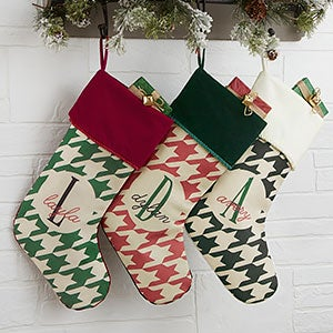 buy personalized christmas stockings add any name initial monogram choose from 3 hounds tooth check colors free personalization fast shipping