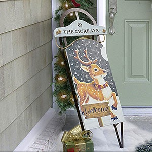Personalized Christmas Sled Decoration - Vintage Reindeer - 18090