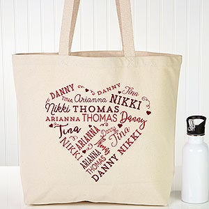 Personalized Canvas Tote - Close To Her Heart - 18104
