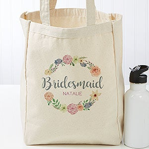 Custom Petite Bridal Tote Bags - Floral Wreath - 18120