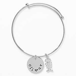 Personalized Pet Name Bangle Bracelet - 18151D
