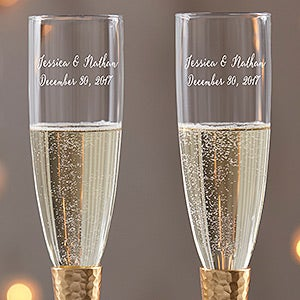 Gold Hammered Engraved Wedding Champagne Flute Set