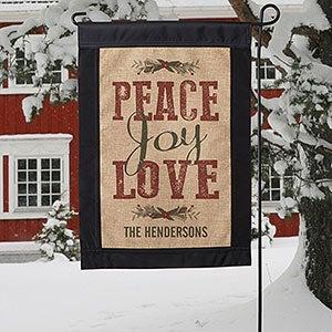Personalized Burlap Garden Flag - Peace, Joy, Love - 18201