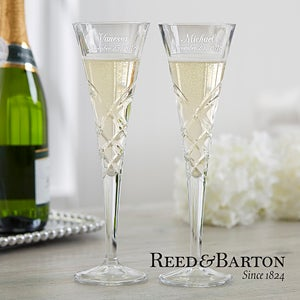 Engraved Crystal Champagne Flutes Made By Renowned Manufacturer Reed Barton Add Names And Wedding Date Free Personalization Fast Shipping