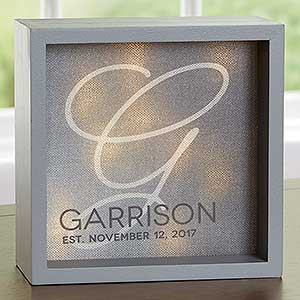 Personalized LED Light Shadow Box - Initial Accent - 18270