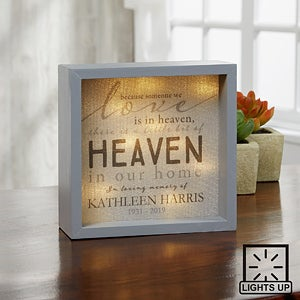 personalized memorial shadow box with light. Black Bedroom Furniture Sets. Home Design Ideas