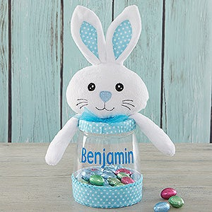 Personalized candy jar blue easter bunny easter gifts easter bunny personalized candy jar 18273 negle Images