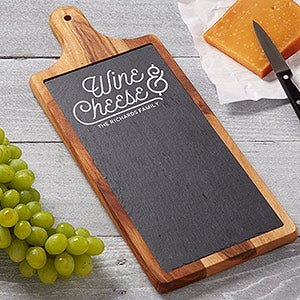 Personalized Wine & Cheese Slate & Wood Paddle Board - 18320