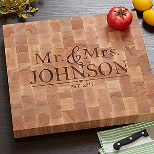 buy butcher block cutting board and add any names and year make a great wedding or anniversary gift free u0026 fast shipping