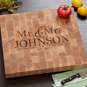 The Wedding Couple Personalized Butcher Block Cutting Board - #18333