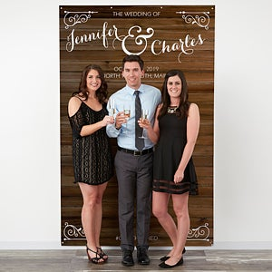 Personalized Wedding Photo Backdrops With Our Rustic Design Perfect Booth Backdrop Free Personalization Fast Shipping