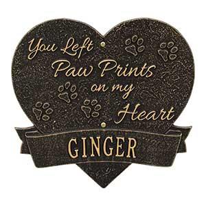 Personalized Pet Memorial Plaque - Paw Prints Heart - 18351D