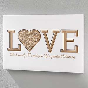 Personalized Love Heart Canvas Prints - 18365