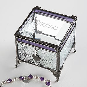 personalized jewelry box engraved glass name for her