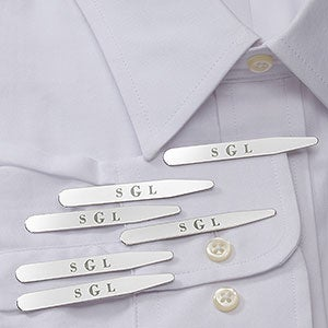 Monogrammed Collar Stays - Set of 3 - 18373