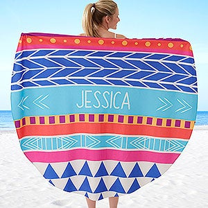 Personalized Round Beach Towel - Bohemian Chic - 18381