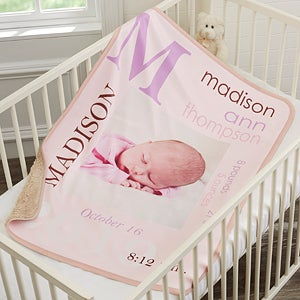Personalized Sherpa Baby Girl Blankets - 18396
