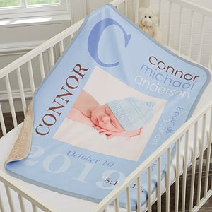 Personalized Sherpa Baby Boy Blankets - 18397