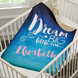 Personalized Sherpa Baby Blanket - Sweet Dreams - 18398