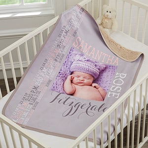 personalized sherpa baby photo blanket for baby girl