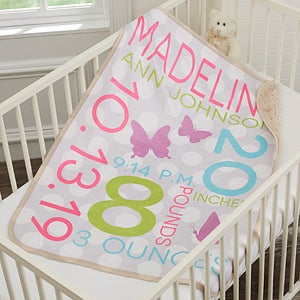 Personalized Baby Girl Blankets - Sherpa Fleece - 18405