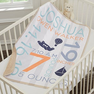 personalized baby boy text blanket sherpa fleece baby gifts