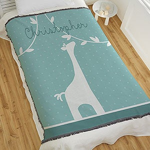 Giraffe Flannel Blanket and Burp Cloth Set....personalization available