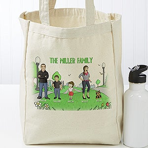Personalized Small Canvas Bag - Family Characters - 18413