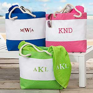 Embroidered Beach Tote Bags - Monogram or Name - 18419