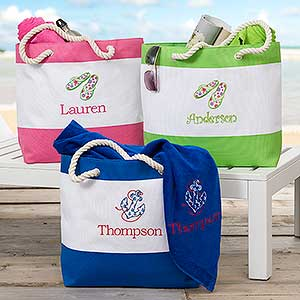 Stripe Beach Bag, Monogrammed Large Utility Tote, Beach Bag, Personalized  Beach Tote,