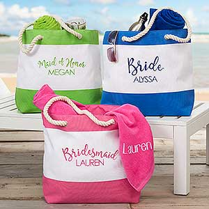 Bridal Party Embroidered Beach Tote Bags - 18422