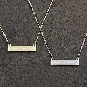 Custom Nameplate Coordinate Necklace - 18433