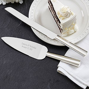 Engraved Wedding Cake Knife & Server - Modern Wedding - 18440
