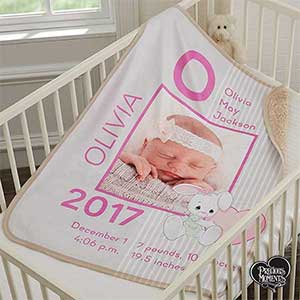 Personalized Precious Moments Baby Blanket for Girls - 18456