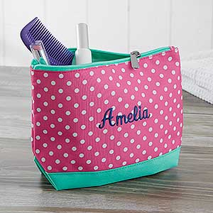 Embroidered Cosmetic Bag - Pink Polka Dot  - 18462