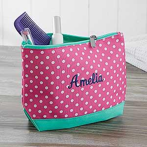 Embroidered Cosmetic Bag - Pink Polka Dot  - 18462
