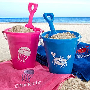 Personalized Beach Pail & Shovel - Sea Creatures - 18486