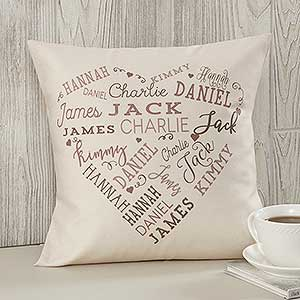 Personalized Throw Pillows - Heart Word Art - 18502