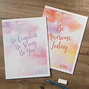 Personalized School Folders - Watercolor Design - 18514