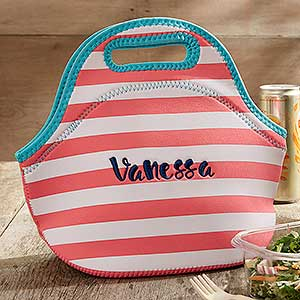 Insulated Embroidered Lunch Bag - Coral & White Stripes - 18526