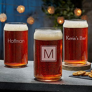 Beer Can Glasses - Custom Engraved Monogram or Name - 18562