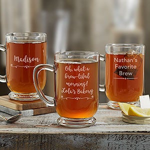 Write Your Own Personalized Glass Coffee Mug - 18566