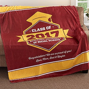 personalized blanket grad gift