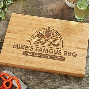 Personalized Bamboo Cutting Board - The Grill - 18594