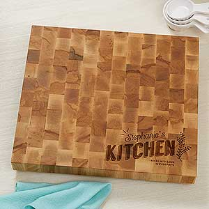 Personalized Butcher Block Cutting Board - Her Kitchen - 18601