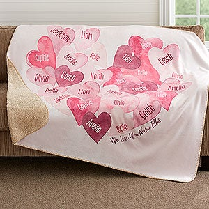 Personalized Sherpa Blanket - Our Hearts Combined - 18606